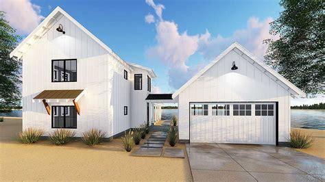 modern farmhouse plan   beds  semi detached garage dj architectural designs