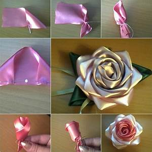 How to Make Pretty DIY Ribbon Rose | BeesDIY.com
