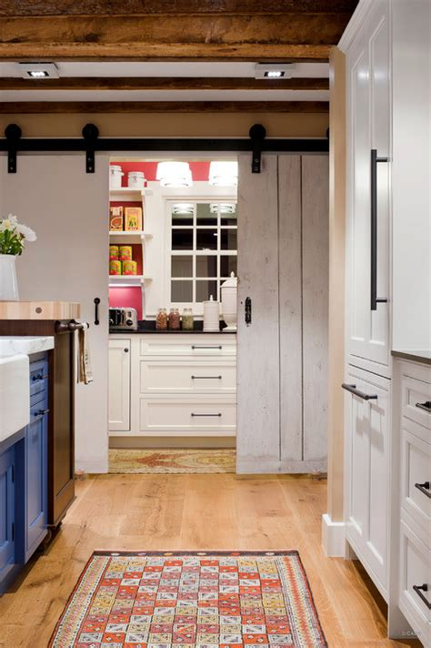 flooring for kitchen and bathroom from rustic to chic 15 kitchens with barn door accents 6657