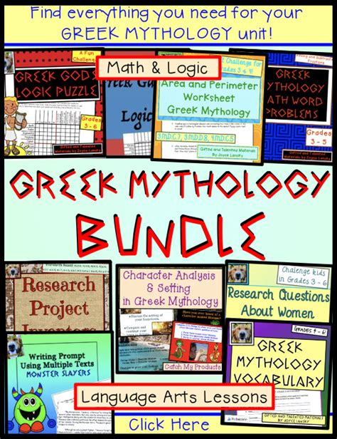 greek mythology worksheets  images writing