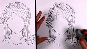 How to draw manga girl hair (Shoulder Length Hair ...