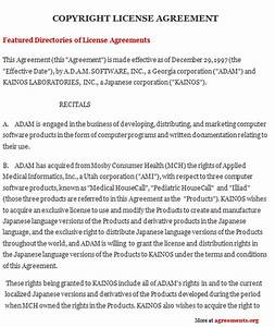 copyright license agreement template 28 images With copyright license agreement template