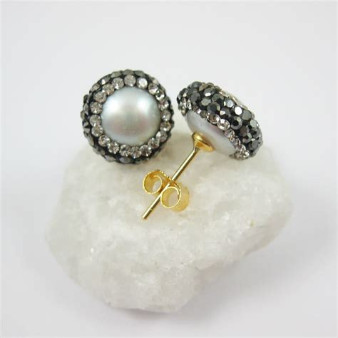 pave jewelry silver freshwater pearl pave earring 22k gold plated sterling silver posts pearl and pave
