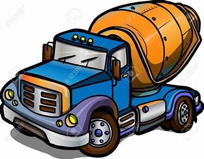 Mixer Concrete Mixing Clipart Truck Cartoon Vector