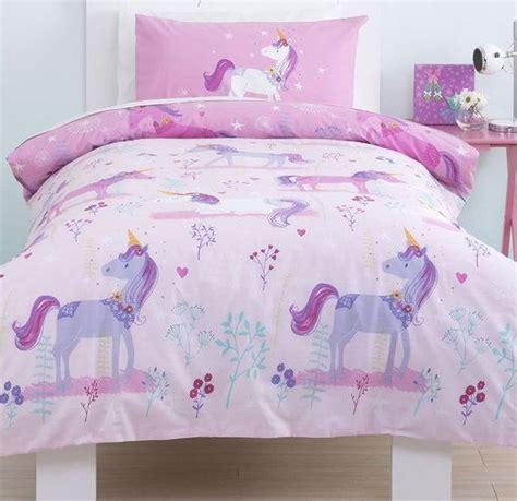 magical unicorn girls single bedding set