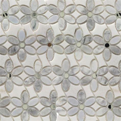 white marble mosaic tile splashback tile steppe mutisia white carrera thassos marble waterjet mosaic floor wall tile 3