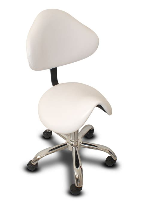 saddle chair with back rest chrome base white