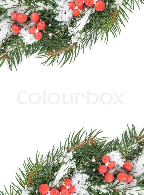 Weihnachten Rahmen Mit Schnee Und Holly Berry Isoliert Auf