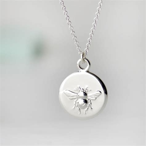 personalised sterling silver busy bee necklace  tales