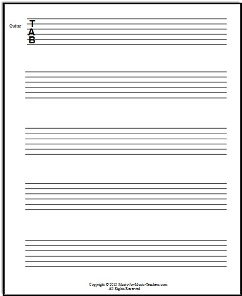 blank guitar tab template free guitar tablature paper for teachers downloadable and printable