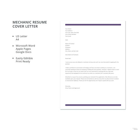 Resume Cover Letter Exles Free by Free Mechanic Resume Cover Letter Template In Microsoft