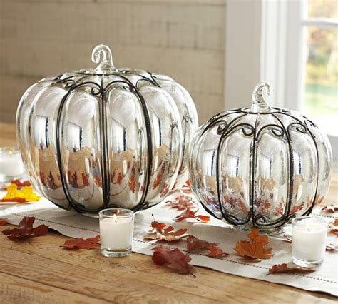 mercury glass wire pumpkins contemporary holiday
