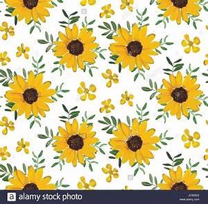 Vintage Amarelo Girassol pequeno belo flores, folhas de ...
