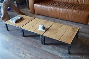 Petite Table En Bois : trio de petite table basse carr e bois et m tal micheli design ~ Teatrodelosmanantiales.com Idées de Décoration