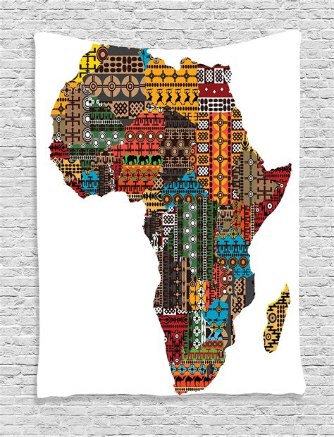 Africa map art poster print wall decor travel map office home gift everydayposter. Ambesonne African Decorations Collection Africa Map with ...