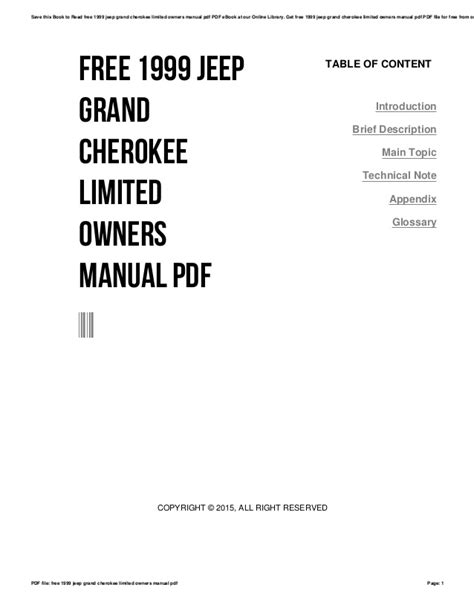 Free 1999 jeep grand cherokee limited owners manual pdf