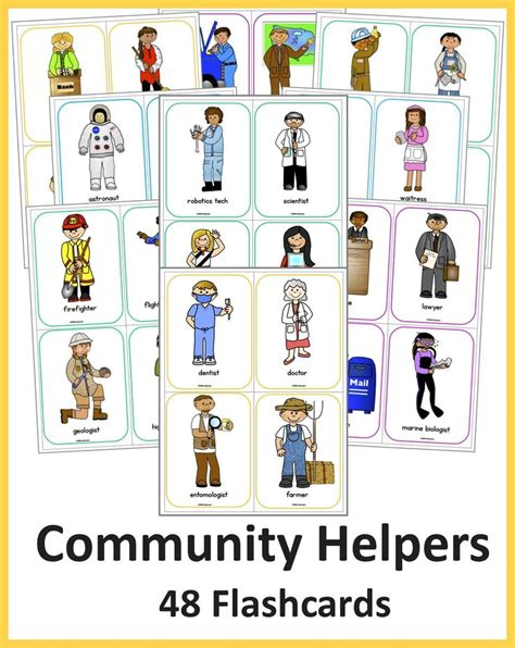 colorful  labeled community helper flashcards