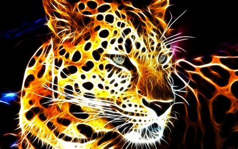 Glowing Animal Wallpaper - animals fractals fractalius shining glowing leopards black