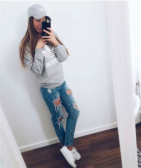 Hat sweater jeans ripped jeans adidas cap cap grey adidas sweater - Wheretoget