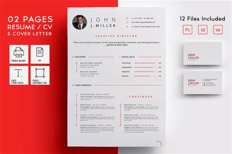 Two Page Resume Template by 65 Eye Catching Cv Templates For Ms Word Free To