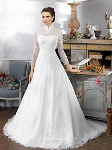 vintage oriental long sleeve high collar lace wedding With collared wedding dress