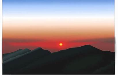 Sunrise Mountain Clipart Morning Indonesia Early Backgrounds
