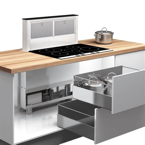 hotte cuisine but airforce downdraft inox et verre hotte plan de travail