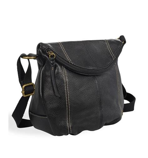 Leather Crossbody Bag by Tenbags Black Leather Crossbody Bag