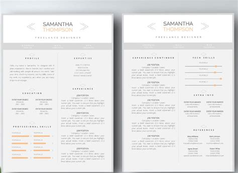 Two Page Resume For Fair by 50 Awesome Resume Templates 2016