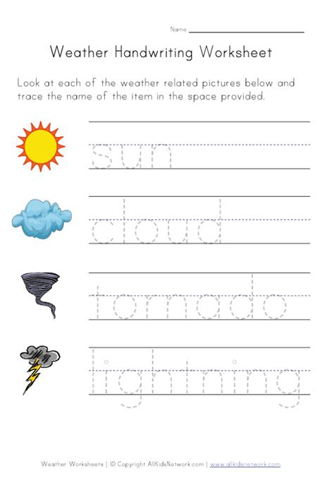 Weather Worksheet Handwriting
