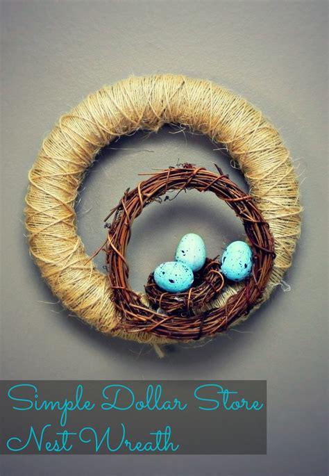 simple dollar store nest wreath   easter egg