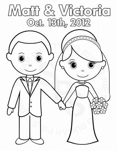 Coloring Pages Groom Bride Party Printable Personalized