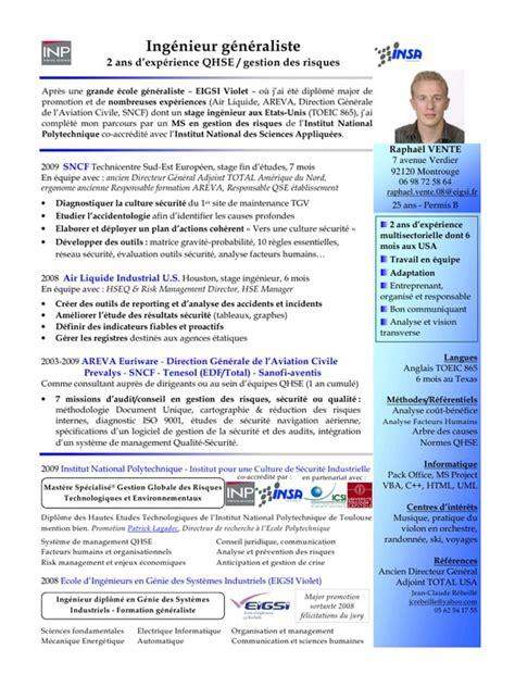 Exemple Cv Télécharger by Exle Resume Exemple Cv Qse