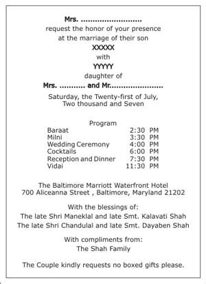 hindu wedding invitation wordingshindu wedding wordings