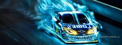 Drifting Car Blue Fire Facebook Cover - Vehicles