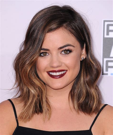 lucy hale medium wavy casual hairstyle brunette hair