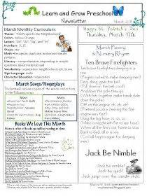 learn and grow designs march preschool newsletter 937 | abe789736dc47fdfb55d6ffa105ee475