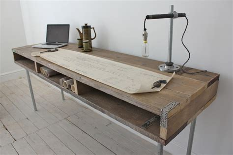 extra long computer desk reclaimed scaffolding board industrial chic extra long