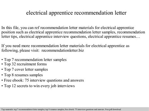 Apprentice Electrician Cover Letter Sle by Electrical Apprentice Recommendation Letter