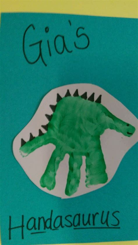 dinosaur handprint arts amp crafts idea for children 504 | 5b11e437d91fdc390fb9f497c1df124a