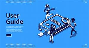 User Guide Isometric Landing Page  People And Book