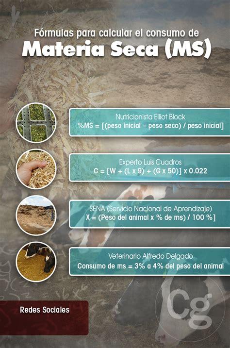 formulas  calcular el consumo de materia seca ms
