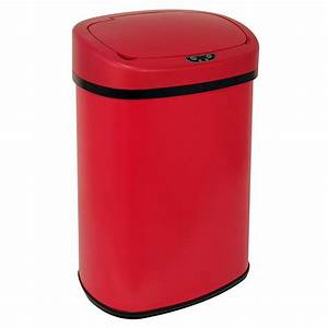 New Red 13-Gallon Touch Free Sensor Automatic Trash Can