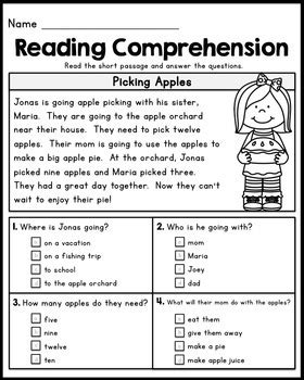 Free First Grade Reading Comprehension Passages  Set 1 By Kaitlynn Albani