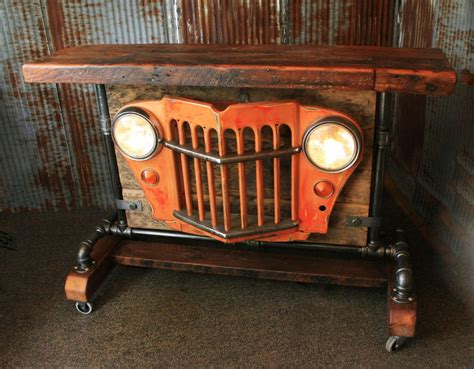 steunk industrial barn wood jeep willys grill pub console table h
