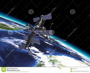Mir Russian Space Station, In Orbit On The Earth. Stock ...