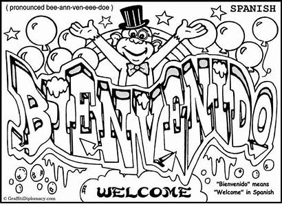 Graffiti Coloring Pages Words Word Alphabet Spanish
