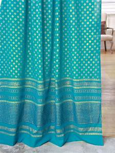 Jeweled peacock turquoise blue and gold colored sheer for Turquoise and gold curtains