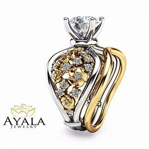 unique white and yellow gold engagement rings 14k diamond With 14k wedding ring sets