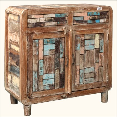 Distressed Reclaimed Wood Buffet Storage Drawer Cabinet